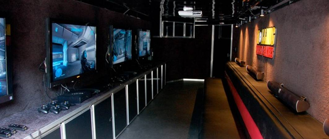 Interior of our game truck and Chicago video game bus