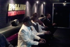 Playing video games in our Chicagoland video gaming bus
